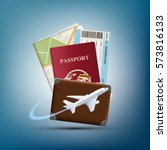 passport with ticket and map.... | Shutterstock .eps vector #573816133