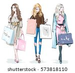 set of beautiful young girls... | Shutterstock .eps vector #573818110