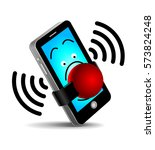 no cell phones   icon. red... | Shutterstock .eps vector #573824248
