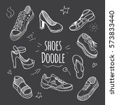 boots doodle collection. set of ... | Shutterstock .eps vector #573833440