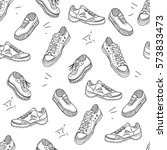 boots doodle pattern.... | Shutterstock .eps vector #573833473