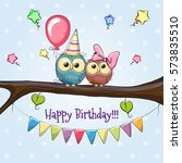 two owls on a brunch with... | Shutterstock . vector #573835510