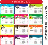 colorful calendar 2011 with... | Shutterstock .eps vector #57383788