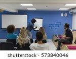 young african american speaker... | Shutterstock . vector #573840046