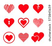 set of stylized hearts. vector... | Shutterstock .eps vector #573845659