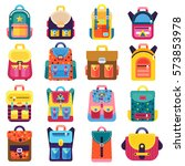 flat school backpacks supplies... | Shutterstock .eps vector #573853978