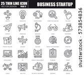 thin line business startup... | Shutterstock .eps vector #573854836