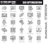 thin line seo optimization and... | Shutterstock .eps vector #573855058