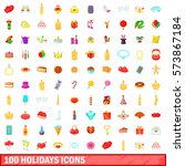 100 icons holidays set in... | Shutterstock .eps vector #573867184
