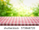 red checkered tablecloth... | Shutterstock . vector #573868720