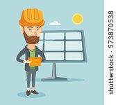 hipster engineer working on... | Shutterstock .eps vector #573870538