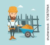 young builder in hard hat... | Shutterstock .eps vector #573870964