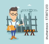 young caucasian engineer with a ... | Shutterstock .eps vector #573871153