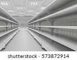 supermarket aisle with empty... | Shutterstock . vector #573872914