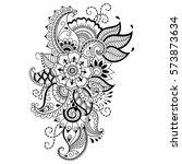 henna tattoo flower template.... | Shutterstock .eps vector #573873634