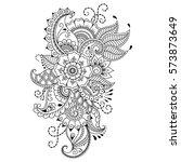 mehndi flower pattern for henna ... | Shutterstock .eps vector #573873649