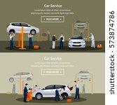 car repair service  flat... | Shutterstock .eps vector #573874786