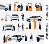flat icons car repair service ... | Shutterstock .eps vector #573874816
