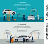 car repair service  flat... | Shutterstock .eps vector #573874828