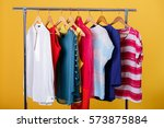 colorful womens clothes on... | Shutterstock . vector #573875884