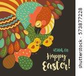 easter chicken with easter eggs | Shutterstock .eps vector #573877228