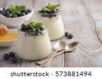 natural homemade yogurt with... | Shutterstock . vector #573881494