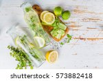 infused lemon and cucumber... | Shutterstock . vector #573882418