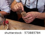 hands working and finishing... | Shutterstock . vector #573885784