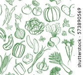 green inky vegetable seamless... | Shutterstock .eps vector #573890569