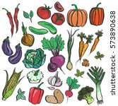 colored inky vegetable sketches....   Shutterstock .eps vector #573890638