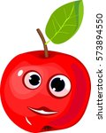 funny red apple with green leaf | Shutterstock .eps vector #573894550