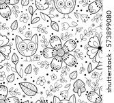 Cute Vector Owl And Flower...