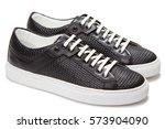 black leather sneakers | Shutterstock . vector #573904090