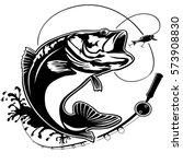 fishing logo. bass fish club... | Shutterstock .eps vector #573908830
