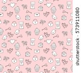 cute seamless pattern with hand ... | Shutterstock .eps vector #573911080