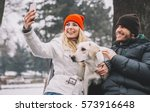 young couple enjoy in park with ... | Shutterstock . vector #573916648