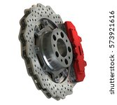 brake disk with perforation and ... | Shutterstock . vector #573921616