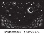 view to the sky in nighttime... | Shutterstock .eps vector #573929173