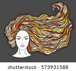 beautiful girl face with long... | Shutterstock .eps vector #573931588