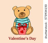 vector card with teddy bear and ... | Shutterstock .eps vector #573934150