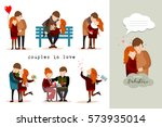 set of valentine couples in... | Shutterstock .eps vector #573935014
