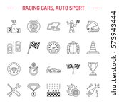 car racing vector line icons.... | Shutterstock .eps vector #573943444