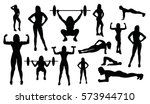 sport woman silhouettes... | Shutterstock .eps vector #573944710