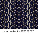 Abstract geometric pattern with lines, rhombuses A seamless vector background. Blue-black and gold texture | Shutterstock vector #573952828