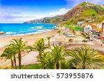 ribeira brava town  madeira... | Shutterstock . vector #573955876