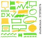 set of hand drawn colorful... | Shutterstock . vector #573958576
