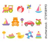 set of colorful baby toys | Shutterstock .eps vector #573958993