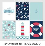 Vector Flat Sea Design Card Set ...