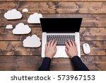 cloud computing technology... | Shutterstock . vector #573967153