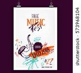 music poster  ticket or program....   Shutterstock .eps vector #573968104